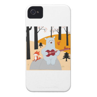 Cute sing a summer song fox wolf and teddy bear iPhone 4 Case-Mate case