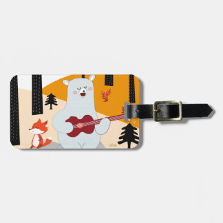 Cute sing a summer song fox wolf and teddy bear luggage tag