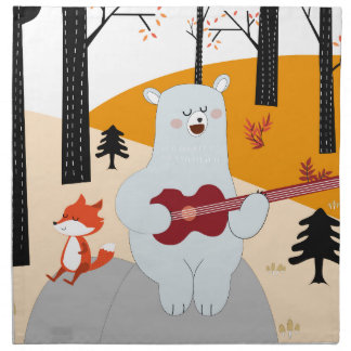 Cute sing a summer song fox wolf and teddy bear napkin