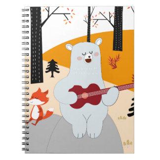 Cute sing a summer song fox wolf and teddy bear notebook