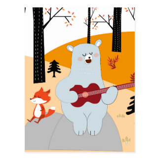 Cute sing a summer song fox wolf and teddy bear postcard