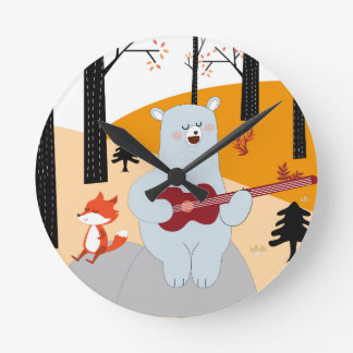 Cute sing a summer song fox wolf and teddy bear round clock