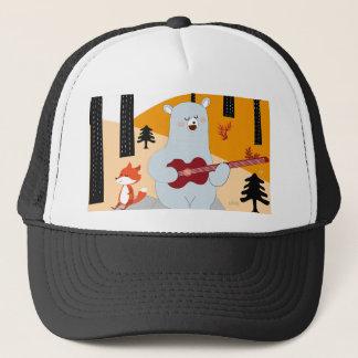 Cute sing a summer song fox wolf and teddy bear trucker hat