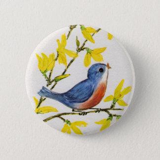 Cute Singing Blue Bird Tree 6 Cm Round Badge