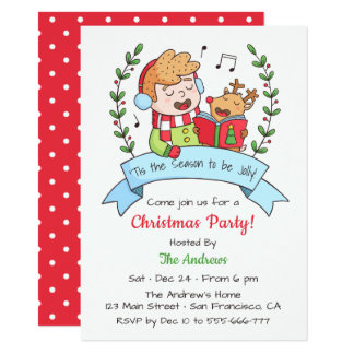 Cute Singing Boy and Reindeer Christmas Party Card