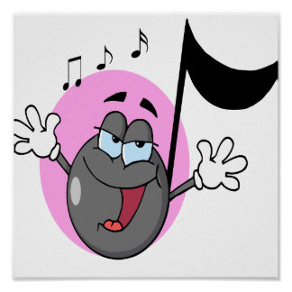 cute singing music musical note cartoon character poster