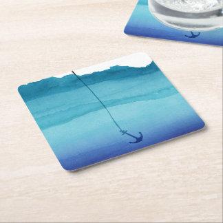 Cute Sinking Anchor in Sea Blue Watercolor Square Paper Coaster
