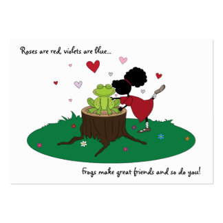 Cute Sister Kisses a Frog Valentines Card for Kids Pack Of Chubby Business Cards