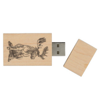 Cute Sitting Alaskan Moose Wood USB Flash Drive