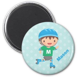 Cute Skater Boy Roller Skating 6 Cm Round Magnet