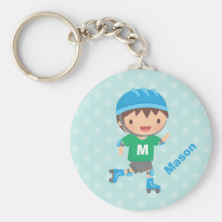 Cute Skater Boy Roller Skating Key Ring