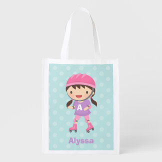 Cute Skater Girl with Pony Tails Grocery Bag