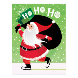 Cute Skating Santa Christmas HoHoHo Presents Postcard
