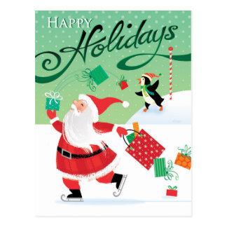 Cute Skating Santa Happy Holidays Postcard
