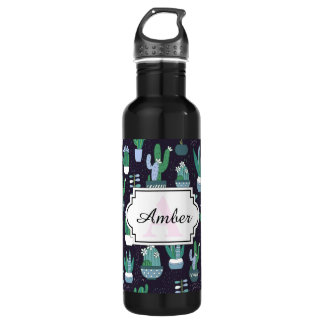 Cute sketchy illustration of cactus pattern 710 ml water bottle