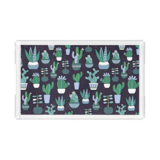 Cute sketchy illustration of cactus pattern acrylic tray
