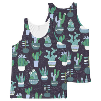 Cute sketchy illustration of cactus pattern All-Over print singlet