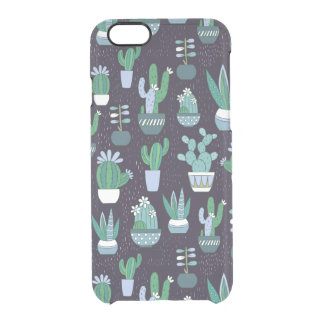 Cute sketchy illustration of cactus pattern clear iPhone 6/6S case