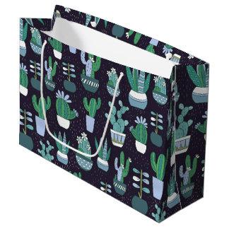 Cute sketchy illustration of cactus pattern large gift bag