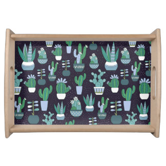 Cute sketchy illustration of cactus pattern serving tray
