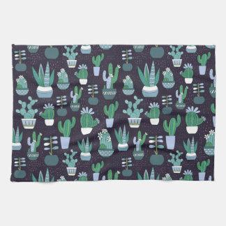Cute sketchy illustration of cactus pattern tea towel