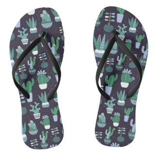 Cute sketchy illustration of cactus pattern thongs