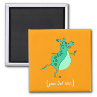 Cute Skipping Green Alien Fridge Magnet