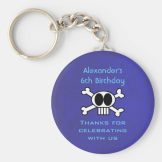 Cute Skull and Crossbones Birthday Favor Basic Round Button Key Ring