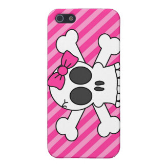 Cute Skull and Crossbones Pink Stripes Cover For iPhone 5/5S