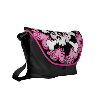 Cute Skull and Hearts Courier Bags
