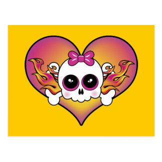 Cute Skull Heart Postcard