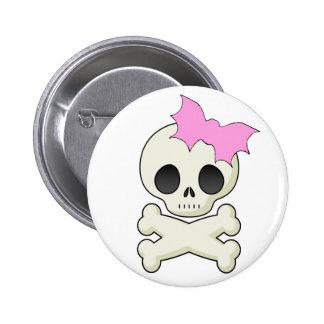 Cute Skull n Crossbones with Bat Bow 6 Cm Round Badge