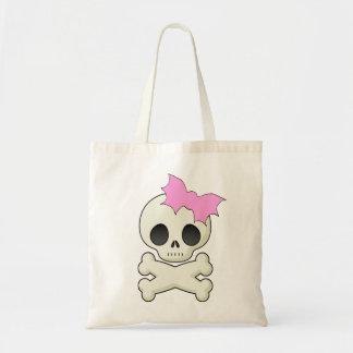 Cute Skull n Crossbones with Bat Bow Budget Tote Bag