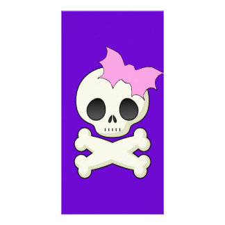 Cute Skull n Crossbones with Bat Bow Personalised Photo Card