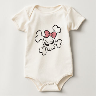 Cute Skull with Pink Bow Baby Bodysuit