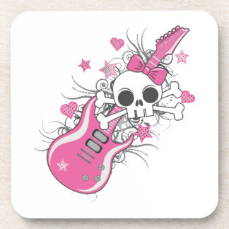 Cute Skull with Pink Guitar Drink Coaster