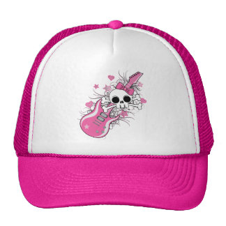 Cute Skull with Pink Guitar Hat