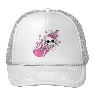 Cute Skull with Pink Guitar Trucker Hats