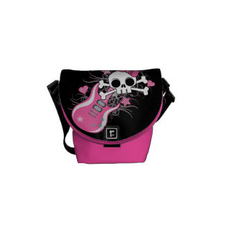 Cute Skull with Pink Guitar Messenger Bag