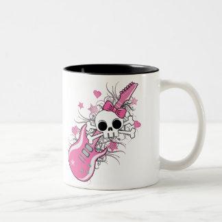 Cute Skull with Pink Guitar Mugs