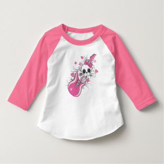 Cute Skull with Pink Guitar T-Shirt