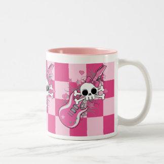 Cute Skull with Pink Guitar Two-Tone Mug