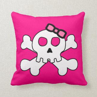 Cute Skull with Pink Ribbon Cushions