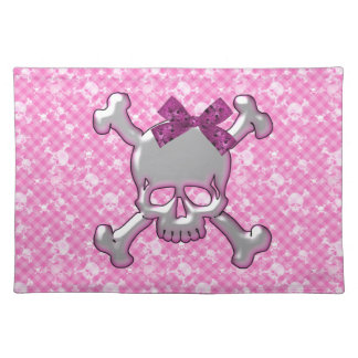 Cute Skull with Ribbon Pink Placemat
