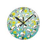 Cute Skulls And Stars Pattern Clock