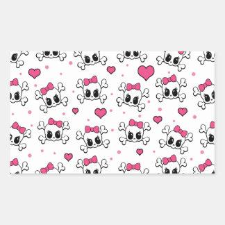 Cute skulls rectangular sticker