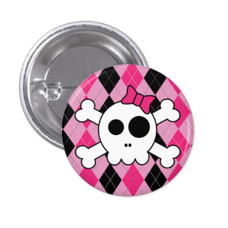 Cute Skully and Argyle 3 Cm Round Badge