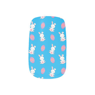 Cute sky blue baby bunny easter pattern minx ® nail art