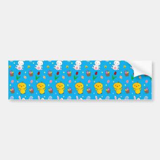Cute sky blue chick bunny egg basket easter car bumper sticker