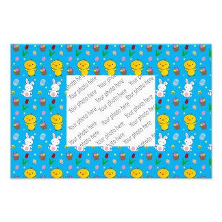 Cute sky blue chick bunny egg basket easter photo print